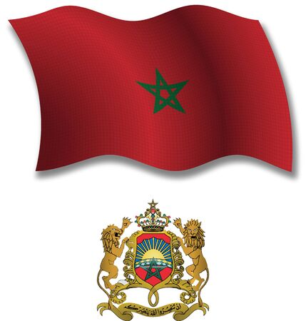 morocco shadowed textured wavy flag and coat of arms against white background, vector art illustration, image contains transparency transparency Illusztráció
