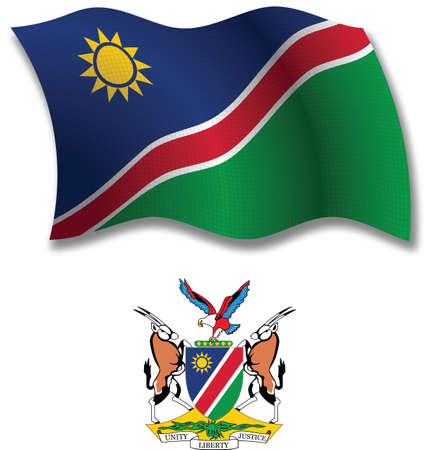 namibia shadowed textured wavy flag and coat of arms against white background, vector art illustration, image contains transparency transparency