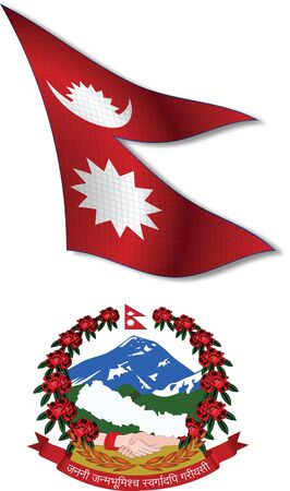 nepal shadowed textured wavy flag and coat of arms against white background, vector art illustration, image contains transparency transparency