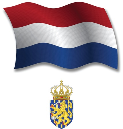 netherlands shadowed textured wavy flag and coat of arms against white background, vector art illustration, image contains transparency transparency Иллюстрация
