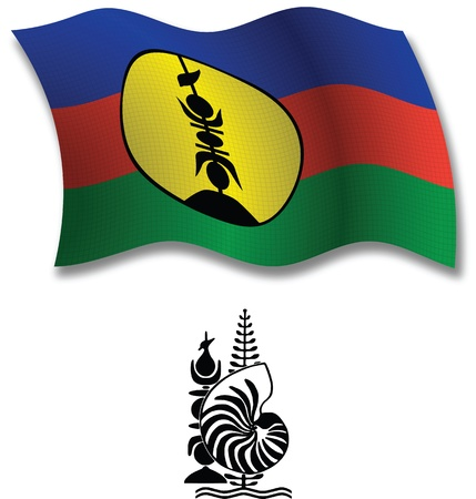 new caledonia shadowed textured wavy flag and coat of arms against white background, vector art illustration, image contains transparency transparency