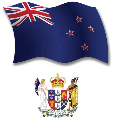 new zealand shadowed textured wavy flag and coat of arms against white background, vector art illustration, image contains transparency transparency