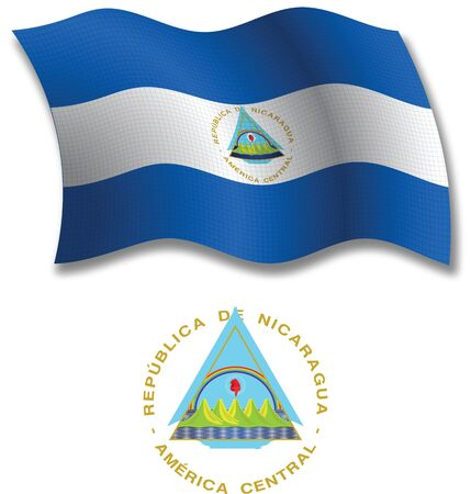 nicaragua shadowed textured wavy flag and coat of arms against white background, vector art illustration, image contains transparency transparency Illustration