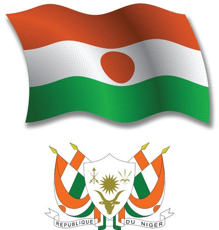 niger shadowed textured wavy flag and coat of arms against white background, vector art illustration, image contains transparency transparency