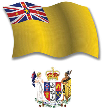 niue shadowed textured wavy flag and coat of arms against white background, vector art illustration, image contains transparency transparency