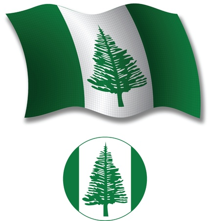 norfolk island shadowed textured wavy flag and icon against white background, vector art illustration, image contains transparency transparency Иллюстрация