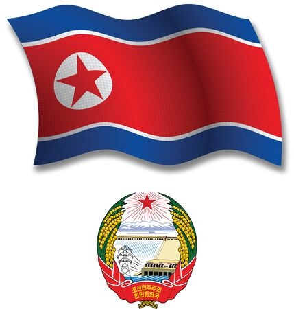 north korea shadowed textured wavy flag and coat of arms against white background, vector art illustration, image contains transparency transparency Stock Vector - 21633329