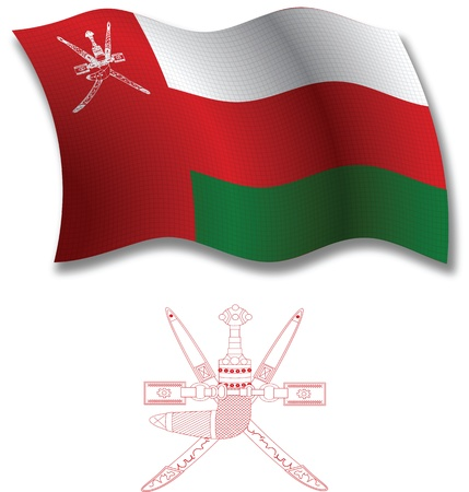 oman shadowed textured wavy flag and coat of arms against white background, vector art illustration, image contains transparency transparency