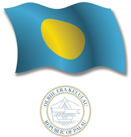 palau shadowed textured wavy flag and coat of arms against white background, vector art illustration, image contains transparency transparency