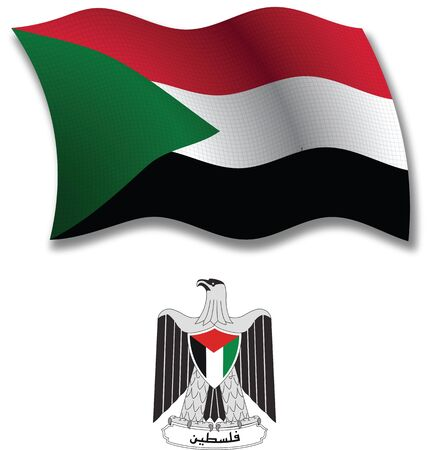 palestine shadowed textured wavy flag and coat of arms against white background, vector art illustration, image contains transparency transparency