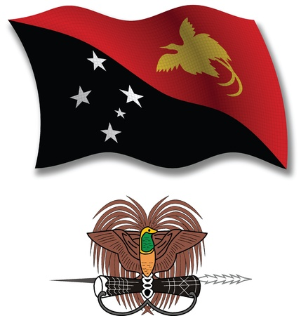 papua new guinea shadowed textured wavy flag and coat of arms against white background, vector art illustration, image contains transparency transparency Illustration