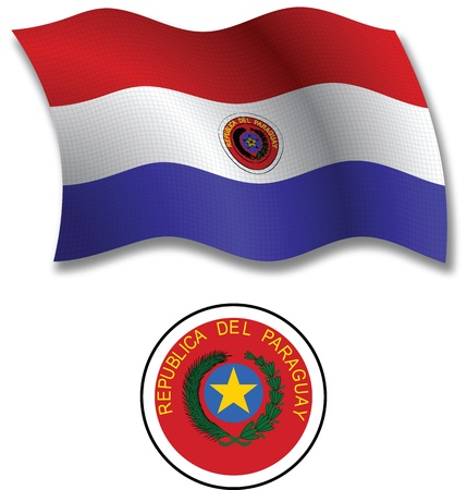 paraguay shadowed textured wavy flag and coat of arms against white background, vector art illustration, image contains transparency transparency Vector