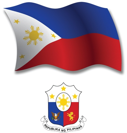 philippines shadowed textured wavy flag and coat of arms against white background, vector art illustration, image contains transparency transparency  イラスト・ベクター素材
