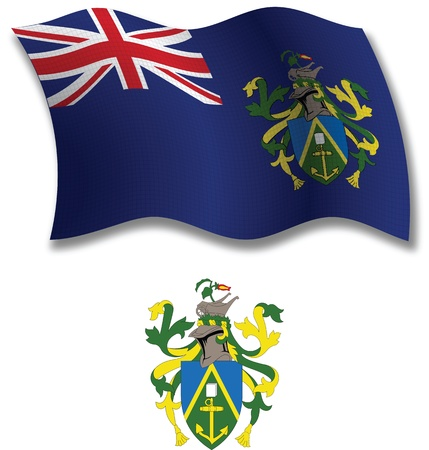 pitcairn: pitcairn islands shadowed textured wavy flag and coat of arms against white background, vector art illustration, image contains transparency transparency