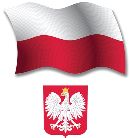 poland shadowed textured wavy flag and coat of arms against white background, vector art illustration, image contains transparency transparency Иллюстрация