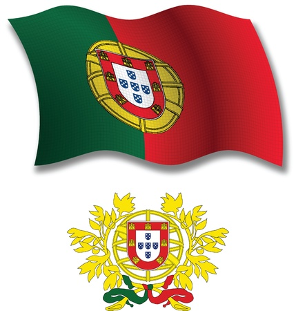 portugal shadowed textured wavy flag and coat of arms against white background, vector art illustration, image contains transparency transparency