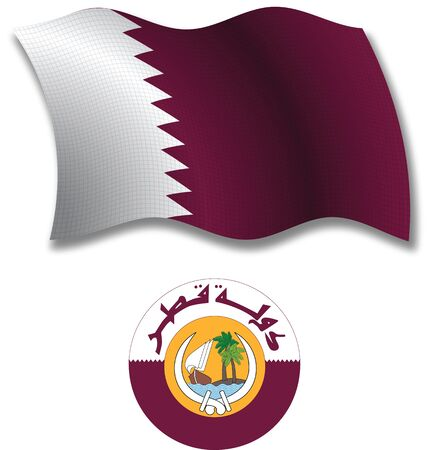 shadowed: qatar shadowed textured wavy flag and coat of arms against white background, vector art illustration, image contains transparency transparency Illustration
