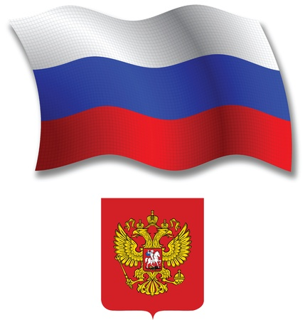 russia shadowed textured wavy flag and coat of arms against white background, vector art illustration, image contains transparency transparency