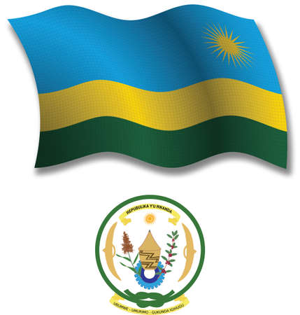 rwanda shadowed textured wavy flag and coat of arms against white background, vector art illustration, image contains transparency transparency