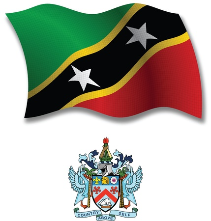 saint kitts and nevis shadowed textured wavy flag and coat of arms against white background, vector art illustration, image contains transparency transparency Illustration