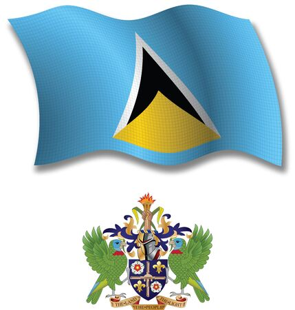 saint lucia shadowed textured wavy flag and coat of arms against white background, vector art illustration, image contains transparency transparency