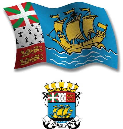 saint pierre and miquelon shadowed textured wavy flag and coat of arms against white background, vector art illustration, image contains transparency transparency Illustration