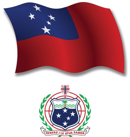 samoa shadowed textured wavy flag and coat of arms against white background, vector art illustration, image contains transparency transparency