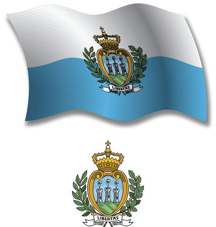 san marino shadowed textured wavy flag and coat of arms against white background, vector art illustration, image contains transparency transparency  イラスト・ベクター素材