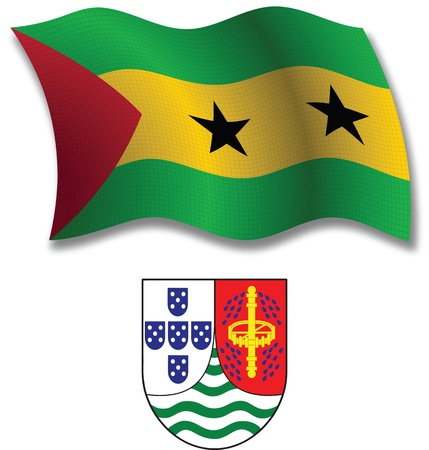 sao tome and principe shadowed textured wavy flag and coat of arms against white background, vector art illustration, image contains transparency transparency