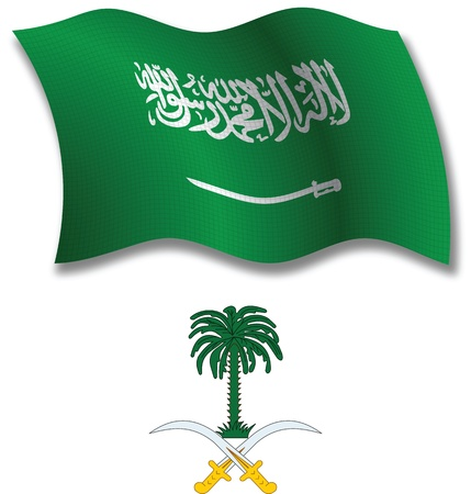 saudi arabia shadowed textured wavy flag and coat of arms against white background, vector art illustration, image contains transparency transparency Ilustração