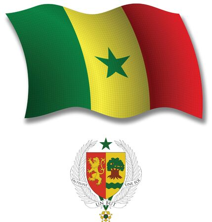 senegal shadowed textured wavy flag and coat of arms against white background, vector art illustration, image contains transparency transparency Stock Vector - 21633392