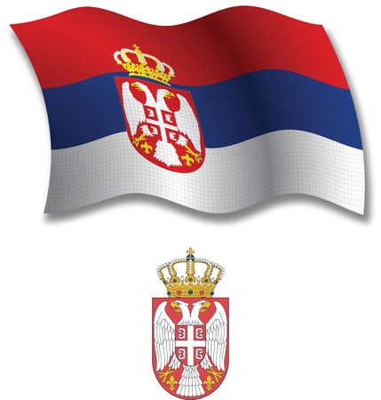 serbia shadowed textured wavy flag and coat of arms against white background, vector art illustration, image contains transparency transparency