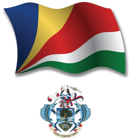 seychelles: seychelles shadowed textured wavy flag and coat of arms against white background, vector art illustration, image contains transparency transparency