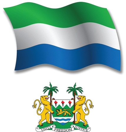 sierra leone shadowed textured wavy flag and coat of arms against white background, vector art illustration, image contains transparency transparency Illustration