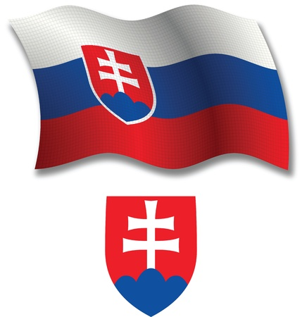 flagpole: slovakia shadowed textured wavy flag and coat of arms against white background, vector art illustration, image contains transparency transparency