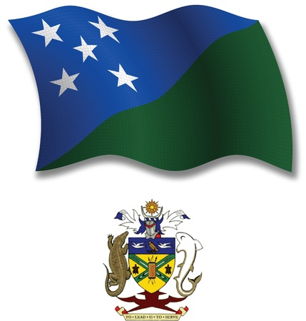 solomon islands shadowed textured wavy flag and coat of arms against white background, vector art illustration, image contains transparency transparency