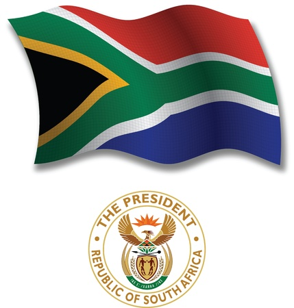 south africa shadowed textured wavy flag and coat of arms against white background, vector art illustration, image contains transparency transparency