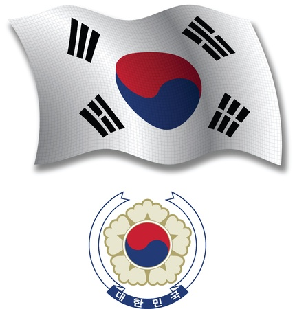 south korea shadowed textured wavy flag and coat of arms against white background, vector art illustration, image contains transparency transparency