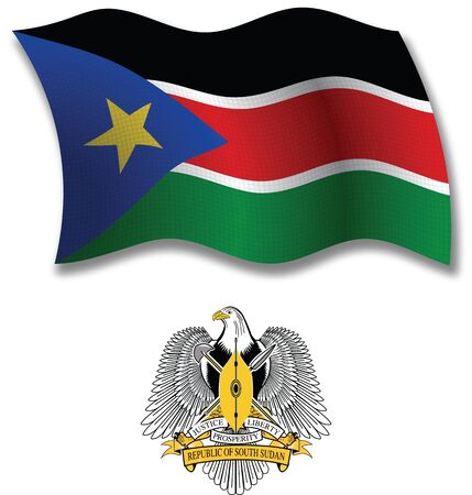south sudan shadowed textured wavy flag and coat of arms against white background, vector art illustration, image contains transparency transparency