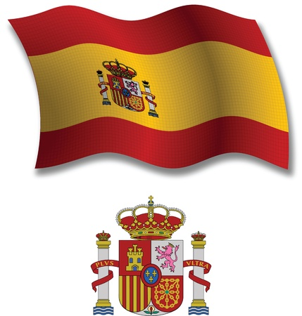 spain shadowed textured wavy flag and coat of arms against white background, vector art illustration, image contains transparency transparency