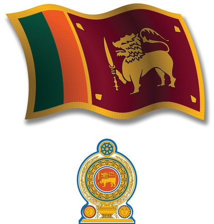 sri lanka shadowed textured wavy flag and coat of arms against white background, vector art illustration, image contains transparency transparency