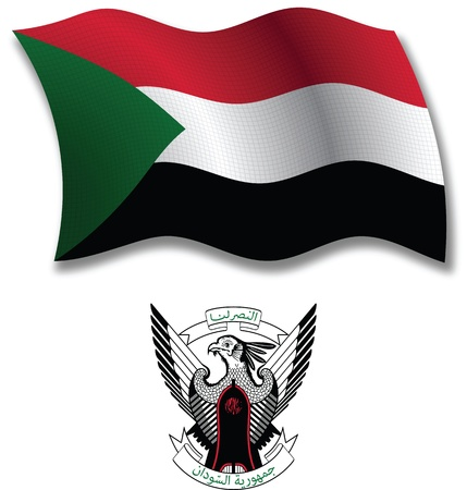 sudan shadowed textured wavy flag and coat of arms against white background, vector art illustration, image contains transparency transparency