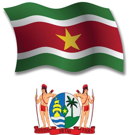 suriname: suriname shadowed textured wavy flag and coat of arms against white background, vector art illustration, image contains transparency transparency Illustration