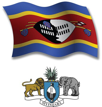 swaziland shadowed textured wavy flag and coat of arms against white background, vector art illustration, image contains transparency transparency