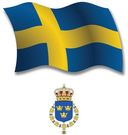 sweden shadowed textured wavy flag and coat of arms against white background, vector art illustration, image contains transparency transparency