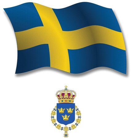 스웨덴 그림자 질감 된 물결 모양의 플래그와 흰색 배경, 벡터 아트 그림 무기의 국장 투명 한 투명도를 포함하는 이미지