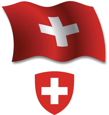 shadowed: switzerland shadowed textured wavy flag and coat of arms against white background, vector art illustration, image contains transparency transparency