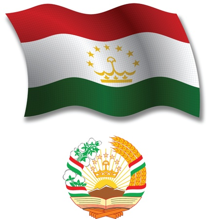 tajikistan shadowed textured wavy flag and coat of arms against white background, vector art illustration, image contains transparency transparency Иллюстрация