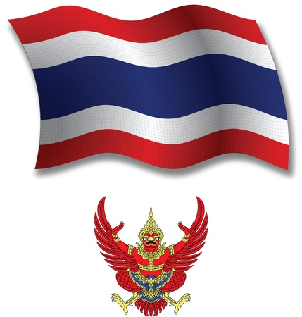 thailand shadowed textured wavy flag and coat of arms against white background, vector art illustration, image contains transparency transparency