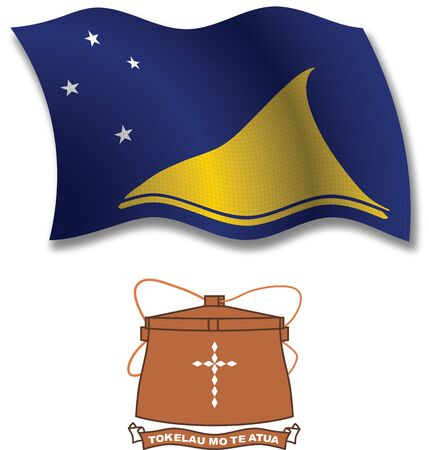 tokelau shadowed textured wavy flag and coat of arms against white background, vector art illustration, image contains transparency transparency